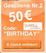 Geschenk Nr. 2 - 50€ - Code: BIRTHDAY - Gleich einlösen!